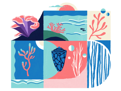 Coral reef illustration sea oceans save the planet coral reef