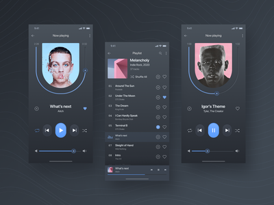 Music Player Concept vector mobile digital clean minimal interface figma dark theme music app app design design concept ios app music player music ui