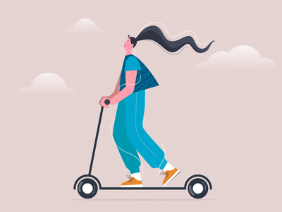 Girl on electric scooter illustration2d happy flat face vehicle sport illustration art illustrator fashion scooter character design character design trend modern art graphic drawing 2d illustration