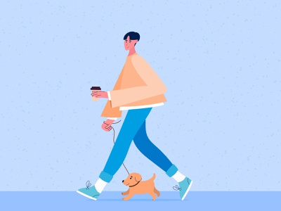 A young man walking a dog. Flat illustration illustrator flat illustration flat grain texture grain animal pet dog design vector character trend modern graphic art drawing illustration 2d
