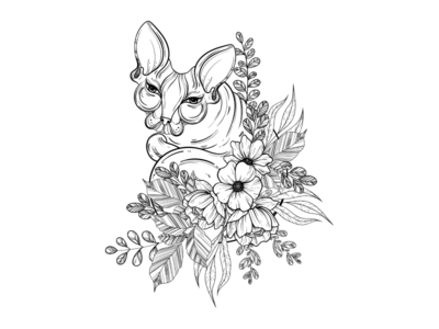 Sphinx cat illustration with beautiful flowers
