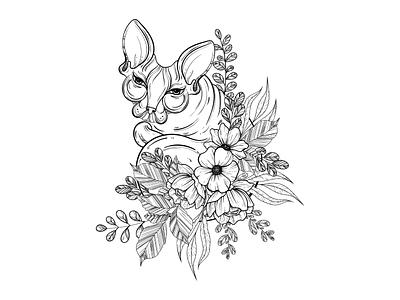 Sphinx cat illustration with beautiful flowers art tattoo design tattoo gothic drawing ink drawing black animal t-shirt print print ornamental monochrome sphinx flowers cat graphic design illustration 2d