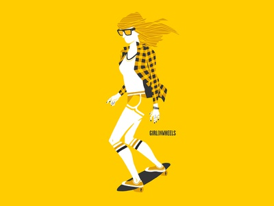 Girl on wheels illustration longboard skate girl hipster lawerta