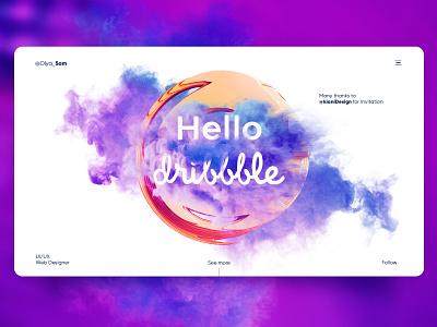 Hello Dribbblers! steam thanks concept invite giveaway hello dribble web ux ui design