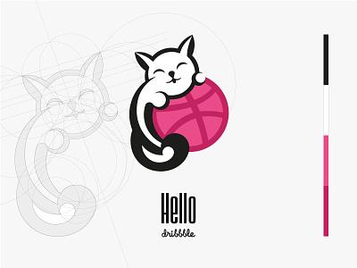 Hello dribbble illustration sweet cat debutshot debut dribbble design brending branding logotype logo hello dribbble