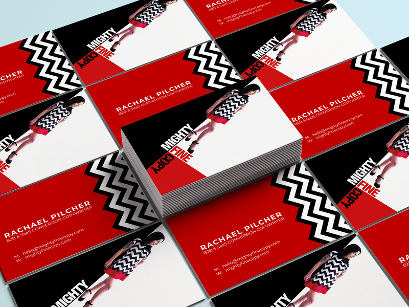 Mighty Fine Copy - SaaS Conversion Copywriter brand tschichold twin peaks personality business card design design personal branding branding