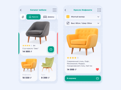 Furniture. The design of the application. Figma