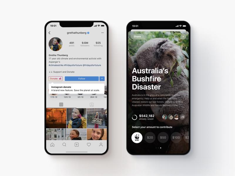 Instagram Concept Donation Feature ig instagram jajadesign concept app sydney interface design ui
