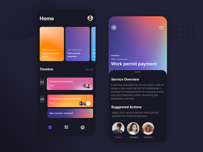 Mobile Service Application Process | Dark Theme color colors colorful dark theme dark mode dark app dark ui ux ui app aftereffects