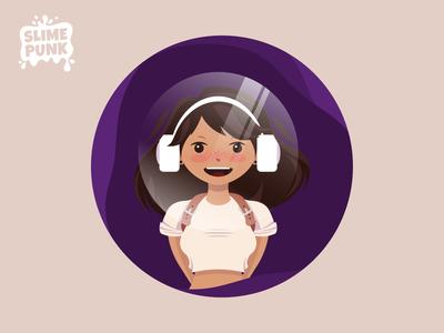 Vector Bubble Girl character design cute purple music girl slime punk 2d minimal astronaut music headphones space bubble cool girl lofi girl character illustration game vector flat
