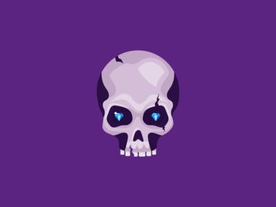 Flat Vector Skull diamond 2d art 2d indie game indie game dev flat icon icon flat design flat art flat vectorart vector art illustration unity character art character game art game skull
