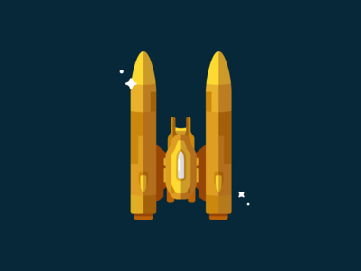 Flat Vector Gold Rocket spaceship illustrator rocket logo gold shuttle rocket space indie game dev indie game unity illustration flat art vectorart game art flat icon character vector icon game flat