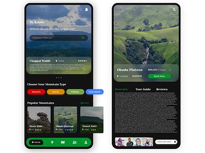 Nigerian Mountain Climbing App UI dark theme dark dark mode dark ui travel app travel nigeria mountain ui  ux app design app ui design