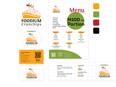 Foodium - Brand Identity Design qr code nigerian menu card business card restaurant branding restaurant logo restaurant food illustration food brand identity brand design branding illustration logo