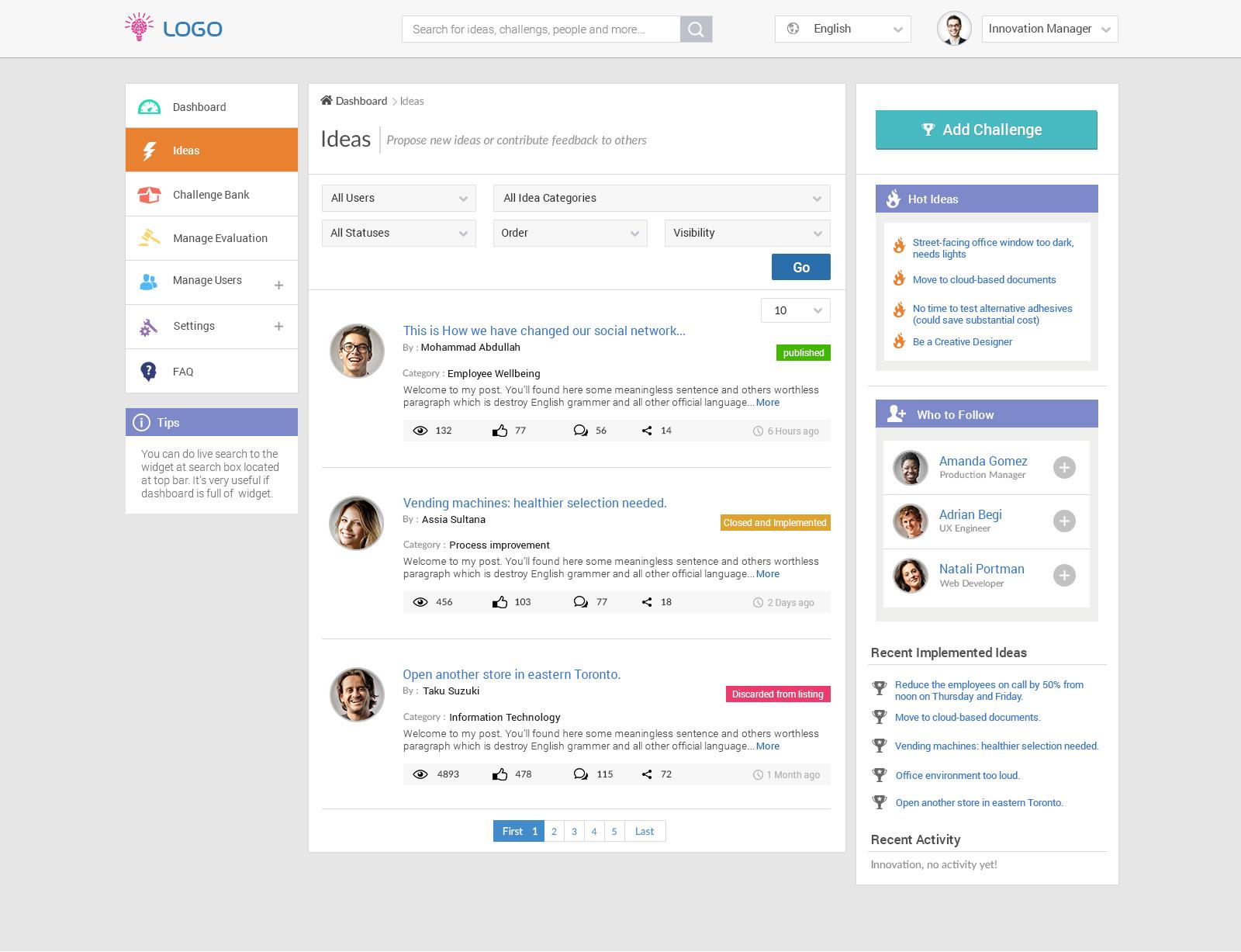 Innovation dashboard