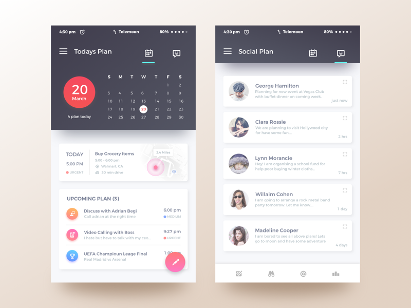 qplanning app dark by rifayet uday dribbble