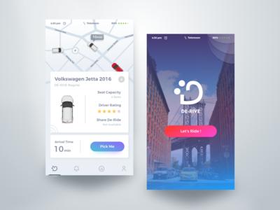 DE-RIVE app mobile app lyft design flat design minimal design ios app creative car lyft google uber material design google design