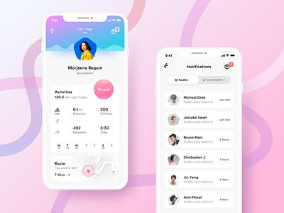 Sports activity ios material design android google google design social user profile dashboard apple minimal design sports iphone x
