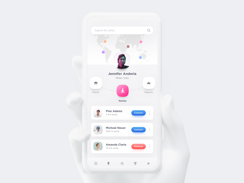 Nearby App ios material design android google google design social user profile dashboard apple minimal design sports iphone x