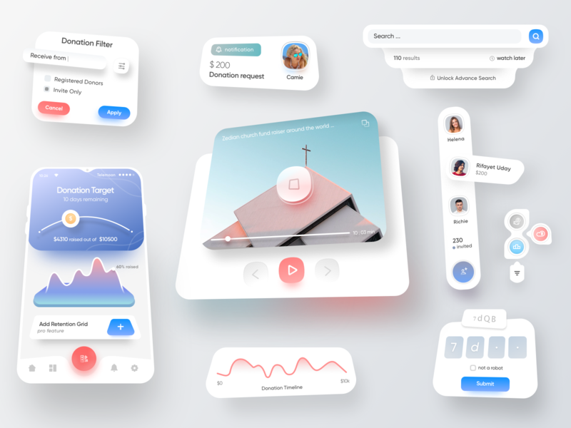 Donate UI Kit charity app 设计 应用 图标 typography product design print mobile illustration branding animation saas design ios app material design google design google google material design sketch latest design schedule app