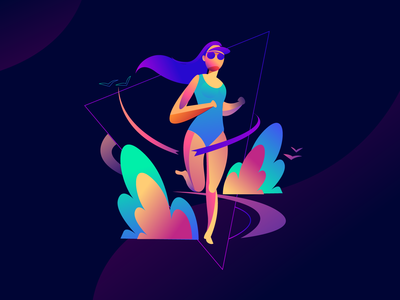 Health goals jogging running sporty colorful web illustration web health goals healthy lifestyle helth sports concept digital arts vector ui girl character style charecter design illustration