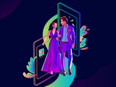 Couple colorful big day couple wedding wedding invitation lifestyle girl character digital painting charecter design ui ux web illustration branding vector design digital arts communication concept style illustration