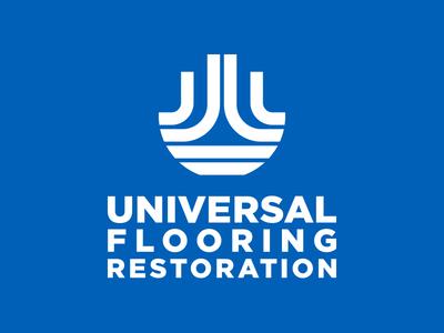 Universal Flooring Restoration Main Logo utilitarian lines thick minimal design vector type identity brand logo