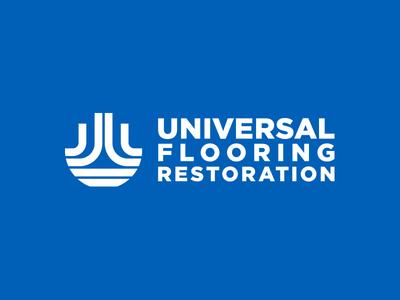 Universal Flooring Restoration Horizontal Logo utilitarian lines thick minimal design vector type identity brand logo