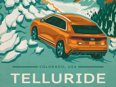 Telluride Audi Poster mountain minimal automotive audi photoshop illustrator adobe vector poster art illustration poster