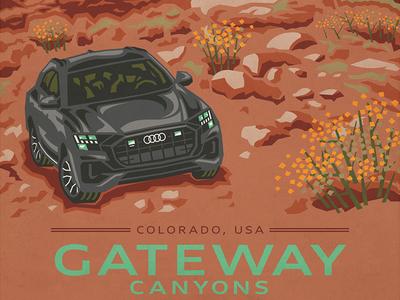 Gateway Canyon Audi Poster desert mountains minimal automotive audi photoshop illustrator adobe vector poster art illustration poster