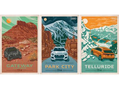 Audi Poster Series series downtown desert mountains minimal automotive audi photoshop illustrator adobe vector poster art illustration poster