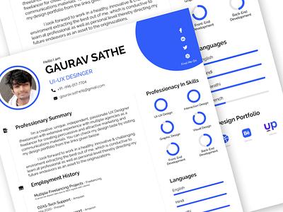 Portfolio / CV Design Template resume cv ui design template profile design ui portfolio