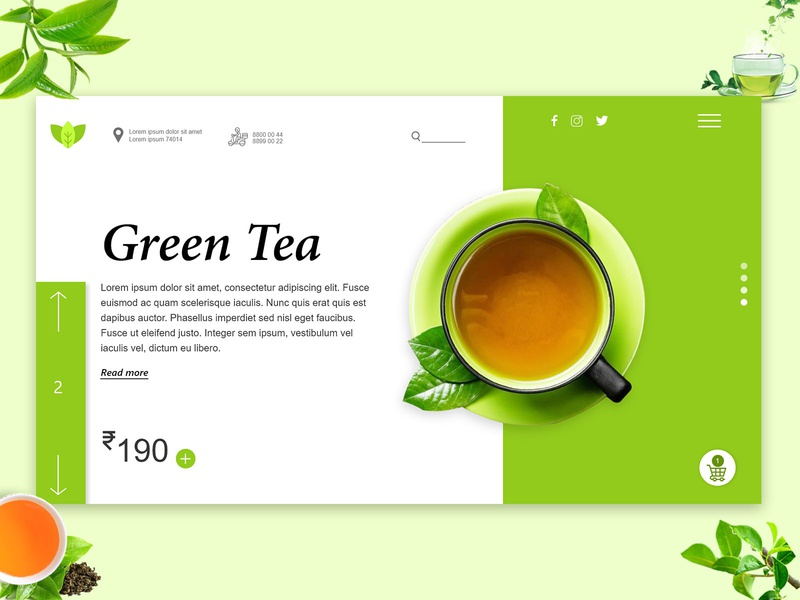 Green Tea Landing Page Concept xd design xd greentea webdesign design colorful photoshop ui design