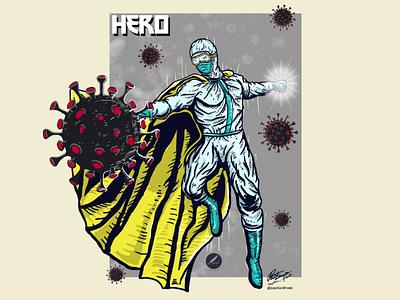 Hero icon vector logo doctor manga cartoon covid 19 corona artwork tahirt design tshirt album cover album art comic design illustrator illustration art