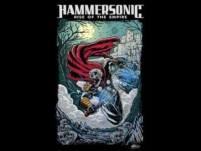 Wake the dead dead hammersonic thor comic darkart skull music metalhead album cover tshirt design tshirt illustrator illustration logo artwork art