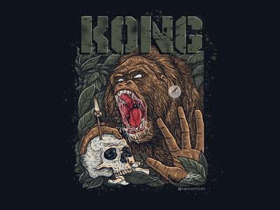 KONG graphic designer logo artwork metalhead dark art skull gorilla orang utan ape music album art tshirt design tshirt illustrator illustration design drawing art