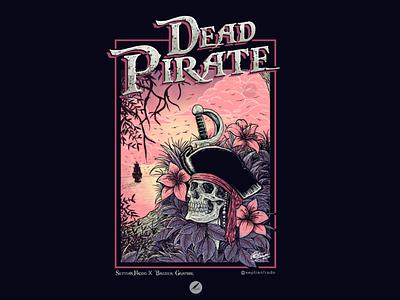 Dead Pirate sunset hatching illustrator illustration flower ship beach tree logo graphic design artwork tshirt design tshirt poster skull art skull pirate
