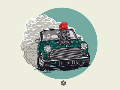 Mini Racer classic british racing green album cover icon vector wacom artwork art illustrator illustration badge drag race mini cooper morris mini petrolhead racer car cartoon logo