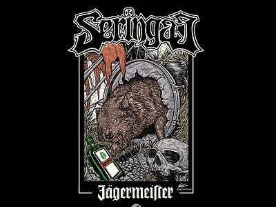 Seringai x Jager nature illustration album art shirt apparel tshirt design tshirt logo dar artist darkart metalhead metal music skull wolf design art