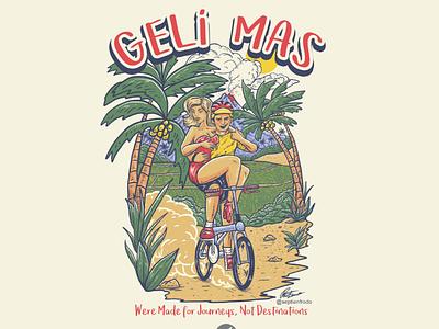 GELIMAS apparel tshirt design shirt tshirt photoshop logo tropical island tropics ricefields mountain gowes comic cartoon illustration sport folding bike bike bicycle