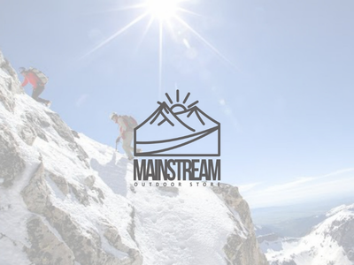 Mainstream logo perusahaan desainer logo mountain gear adventure branding icon brand vector logo