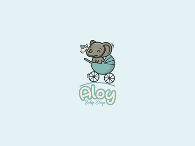 Aloy baby shop cute icon baby company profile company logo elephant illustration vector brand logo