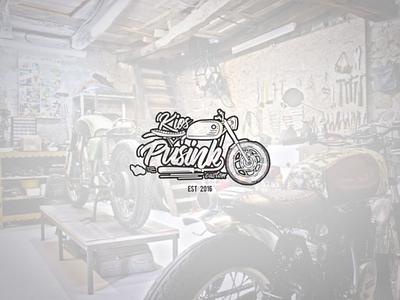Kios pusink custom garage company logo hand lettering lettering icon cafe racer garage custom garage bike illustration vector brand logo
