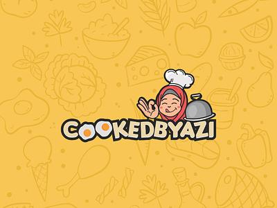Cooked by azi logo desainer logo logo perusahaan food cooking icon branding vector brand logo