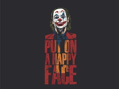 """put on a happy face"" icon brand vector joker illustration logo"