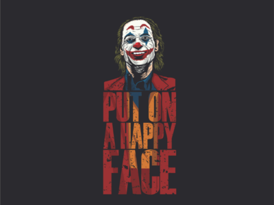"""put on a happy face"" icon brand vector joker illustration logo"