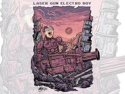Laser Gun Electro Boy game tshirt tshirt design movie music cover art comic cartoon album art robot boy illustrator fantasy illustration logo design