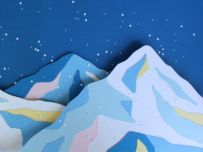 New Project physical craft cold paper illustration winter snow mountains