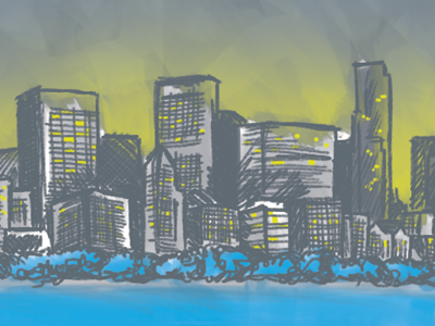Chicago Skyline chicago ipad illustration spot colors skyline city