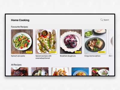 TV App - Cooking cooking cooking app recipes smart tv app smart tv smarttv tv app daily ui 025 dailyui 025 dailyui